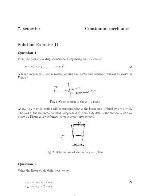 7. semester Continuum mechanics Solution Exercise 11