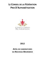 LE CONSEIL DE LA FÉDÉRATION PRIX D'ALPHABÉTISATION