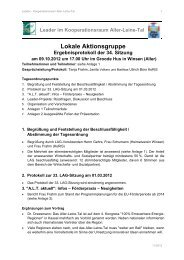 34. LAG-Sitzung am 09.10.2012 - bei Leader im Aller-Leine-Tal
