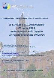 IX Convegno Macroregione Abruzzo-Marche-Umbria - Sisc
