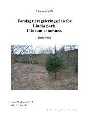 Forslag tilreguleringsplan for Lindås park. i Hurum kommune.
