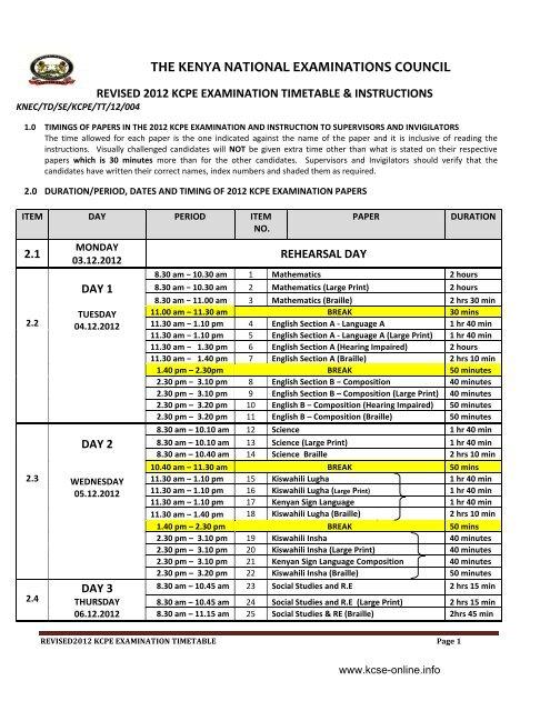 KNEC KCPE 2012 Revised Timetable - KCSE Online