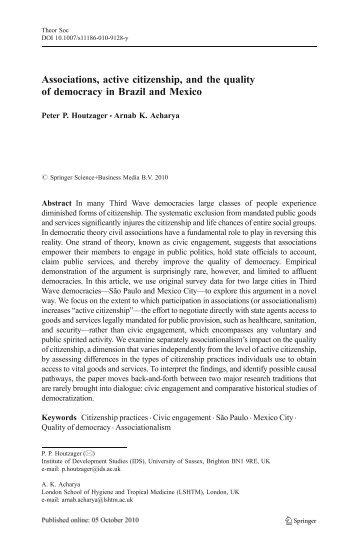 Associations, active citizenship, and the quality of democracy in ...