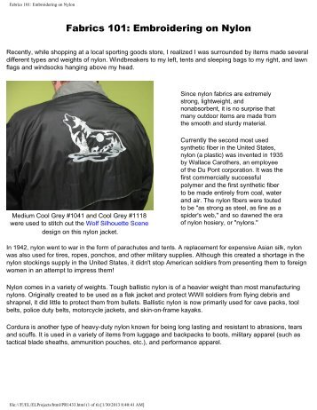 Fabrics 101: Embroidering on Nylon