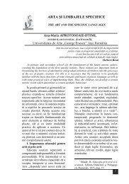 arta şi limbajele specifice / the art and the specific languages