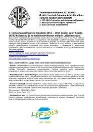 Toimintasuunnitelma 2012-2013 G-piiri, Leo tmk.Johanna Arho ...