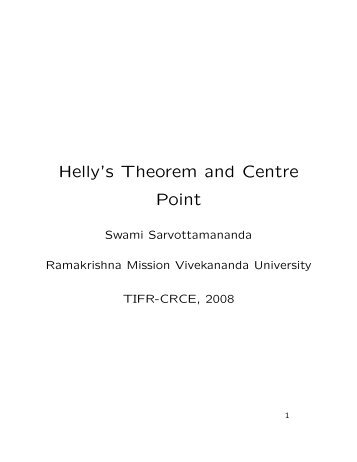 Helly's Theorem and Centre Point
