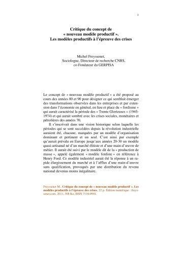 Critique du concept de « nouveau modèle ... - Michel Freyssenet