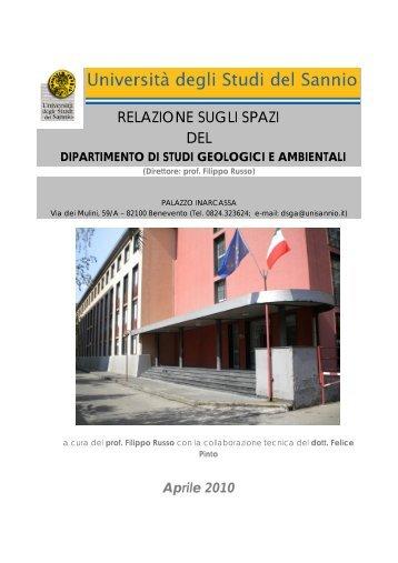 Relazione sugli spazi del DSGA anno 2009 - Università del Sannio