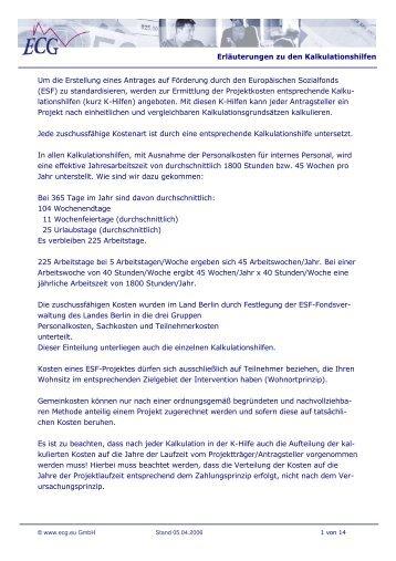Erläuterungen zu den Kalkulationshilfen Um die ... - ECG GmbH Berlin