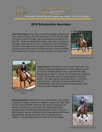 2010 Scholarship Awardees - Morgan Dressage Association