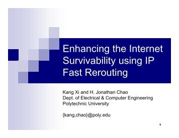 Enhancing the Internet Survivability using IP Fast Rerouting