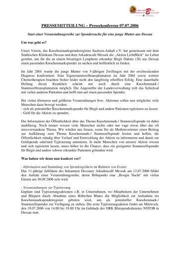 PRESSEMITTEILUNG – Pressekonferenz 07.07.2006