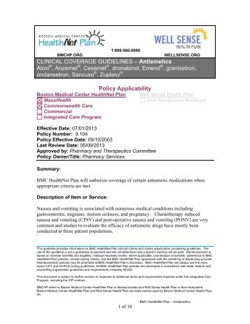 Prior Authorization Appeal - BMC HealthNet Plan