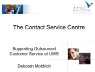 The Contact Service Centre: Supporting outsourced customer ...