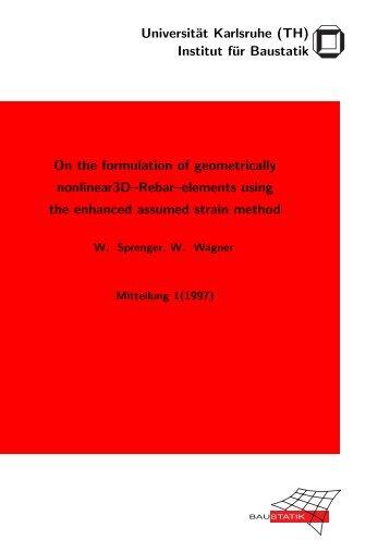 Universität Karlsruhe (TH) Institut für Baustatik On the formulation of ...