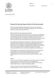 Ramverk för intern styrning och kontroll vid Lunds universitet. Beslut ...
