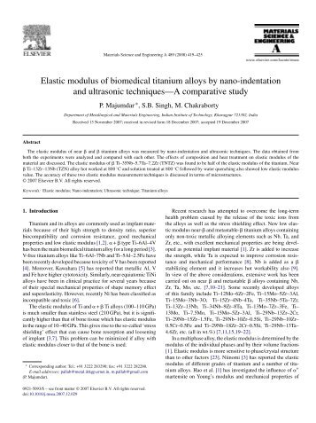 Elastic modulus of biomedical titanium alloys by nano ... - Sistemas