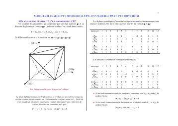 SURFACES DE CHARGE D'UN MONOCRISTAL CFC, D'UN ... - mms2