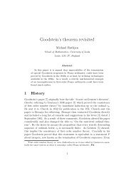 Goodstein's theorem revisited - School of Mathematics - University of ...