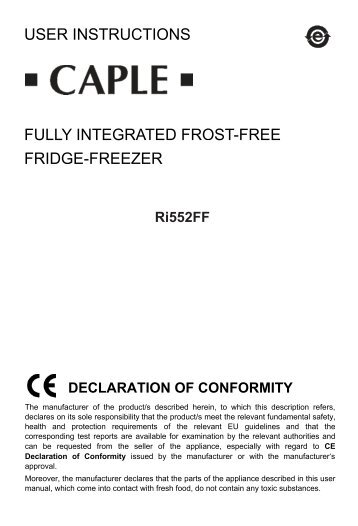user instructions fully integrated frost-free fridge-freezer rff ... - Caple