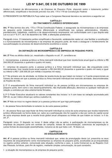 LEI Nº 9.841, DE 5 DE OUTUBRO DE 1999 - Senac São Paulo