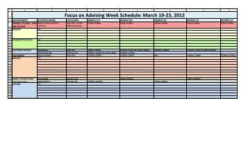 Focus on Advising Week Schedule: March 19-23, 2012