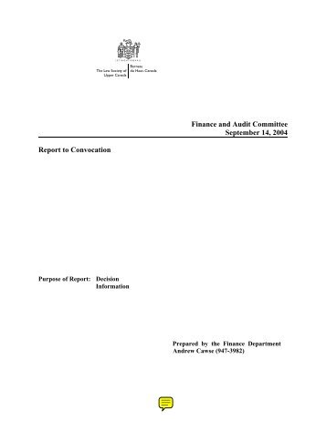 Finance and Audit Committee September 14, 2004 Report to ...
