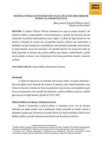 Políticas Públicas em Museus de Itajaí: Criação e ... - Cultura Digital