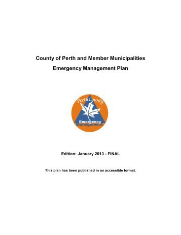 County of Perth and Member Municipalities Emergency ...