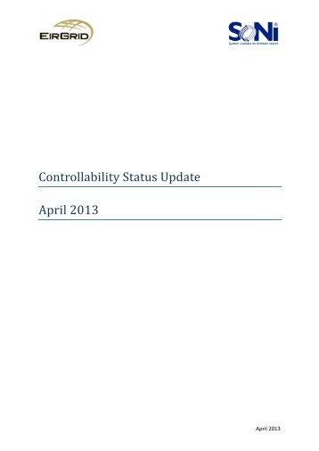 Controllability Status Update April 2013 - Eirgrid