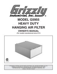 MODEL G5955 HEAVY DUTY HANGING AIR FILTER - Grizzly.com