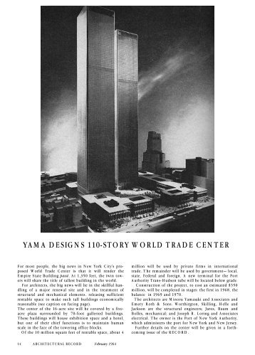 yama designs 110-story world trade center - Architectural Record