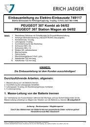 Einbauanleitung zu Elektro-Einbausatz 749117 PEUGEOT ... - ATU