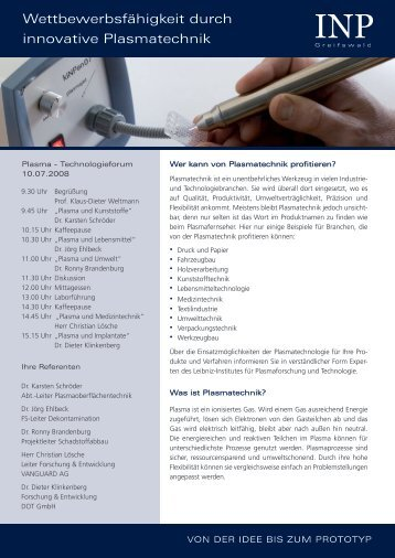 Plasma-Technologieforum - INP Greifswald