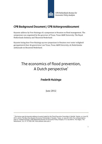 The economics of flood prevention, A Dutch perspective