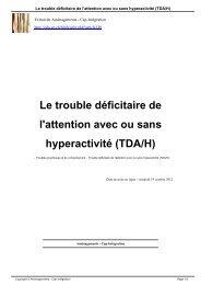 Le trouble déficitaire de l'attention avec ou sans hyperactivité (TDA/H)
