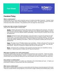Fact Sheet Cerebral Palsy - Office of Family Health Services