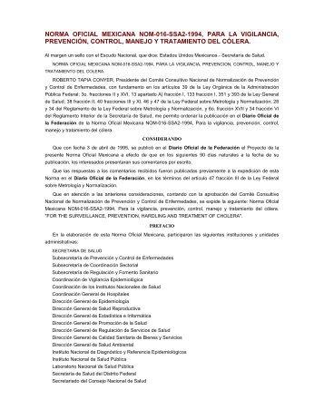 norma oficial mexicana nom-016-ssa2-1994, para la vigilancia ...