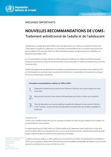 NOUVELLES RECOMMANDATIONS DE L'OMS :