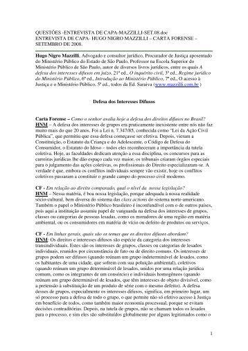Entrevista ao jornal Carta Forense - Mazzilli