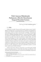 Türk Anayasa Hukukunda Parlamento (Meclis) Kararlarının Yargısal ...