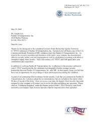 CTPAT Primary Letter of Certification - Panther Expedite