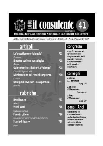 N. 41 del 2 novembre 2002 726 il consulente 1081 - Ancl