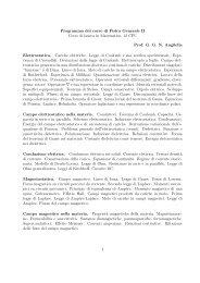 Programma del corso di Fisica Generale II Corso di laurea ... - Studium