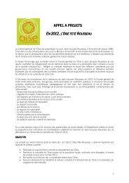 APPEL A PROJETS APPEL A PROJETS - Conseil général de l'Oise