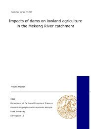 Impacts of dams on lowland agriculture in the Mekong River catchment