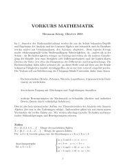mathematischer Vorkurs