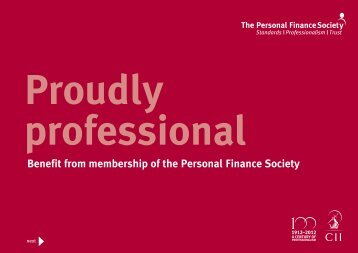 Proudly Professional - The Personal Finance Society