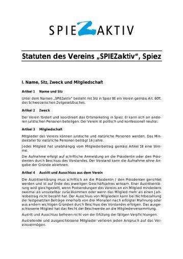 """Statuten des Vereins """"SPIEZaktiv"""", Spiez - Bucht-Spiez.ch - in Spiez"""